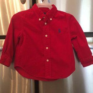 Ralph Lauren Red Corduroy shirt 18M nwot